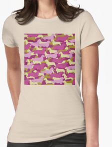 Distressed Camo Dachshund Silhouettes - Smooth, Wire, Long, Hair, Coat, Longhair, Wirehair Womens Fitted T-Shirt
