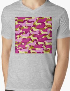 Camo Dachshund Silhouettes - Smooth, Wire, Long, Hair, Coat, Longhair, Wirehair Mens V-Neck T-Shirt