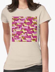 Camo Dachshund Silhouettes - Smooth, Wire, Long, Hair, Coat, Longhair, Wirehair Womens Fitted T-Shirt