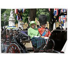 The Queen Trooping the colour dressed in Green. Poster
