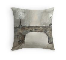Greeting Card - Bridge at Night Time - Glasgow, Watercolour - Sam Austrin-Miner Throw Pillow