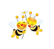 two cute bees in love Photographic Print