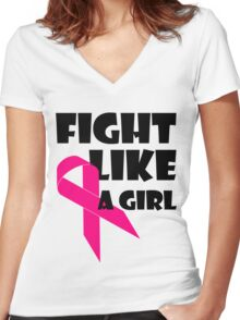 Fight Like A Girl Breast Cancer Awareness Women's Fitted V-Neck T-Shirt