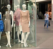 Mannequins, Man with mobile, and Onlooker... by Mike  Waldron
