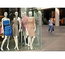 Mannequins, Man with mobile, and Onlooker... Photographic Print