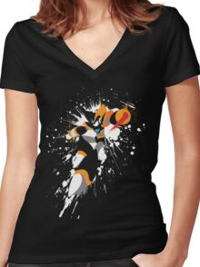 Bass/Forte Splattery Explosion Women's Fitted V-Neck T-Shirt