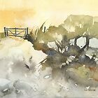 Greeting Card - Bundarra Road, New England Watercolour - Sam Austrin-Miner by Sam Austrin-Miner