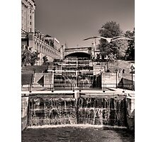 Rideau Canal Lockstations (BW) - UNESCO World Heritage Site Photographic Print
