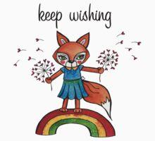 Keep Wishing: Cute Fox Watercolor Illustration  Baby Tee