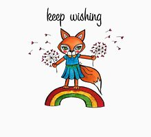 Keep Wishing: Cute Fox Watercolor Illustration  Womens Fitted T-Shirt
