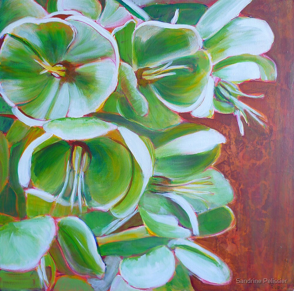 Hellebore, acrylic on canvas by Sandrine Pelissier