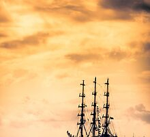 Tall ship in red sunset by Plrang Art