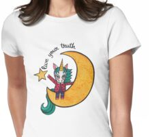 Live Your Truth: Cute Unicorn Drawing Watercolor Illustration Womens Fitted T-Shirt