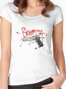 Beretta 9mm Hand Gun - Red Script  Women's Fitted Scoop T-Shirt