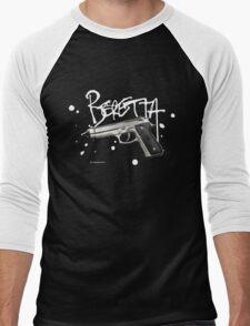 Beretta 9mm Pistol - White Logo Men's Baseball ¾ T-Shirt