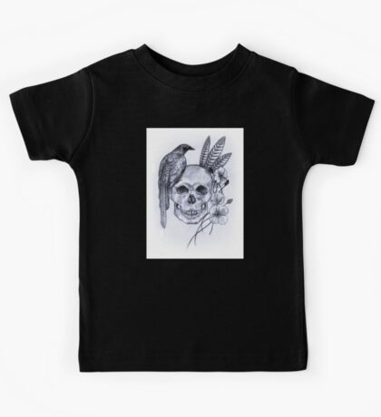 Skull, Bird and Feathers Kids Tee
