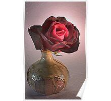 Antique Rose in Vase Poster