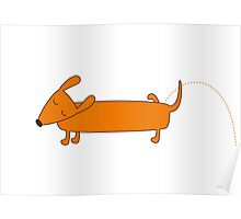 Cute pissing dachshund Poster