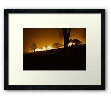 Fog fell along the river Framed Print