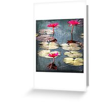 Bright Pink Lotus Flowers Greeting Card