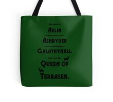 Queen of Terrasen (Black on Green) Tote Bag