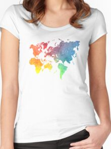 New World Order world map 1 Women's Fitted Scoop T-Shirt