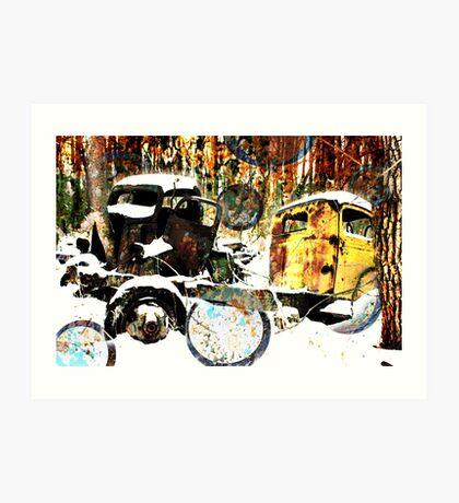 Two Trucks in the Woods Art Print