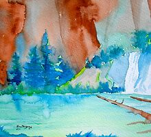 HANGING LAKE... GATEWAY TO HEAVEN...WATERCOLOR by Kevin McGeeney