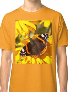 Red Admiral;Yellow Flower Classic T-Shirt