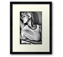 Woman in tight fitting top Framed Print