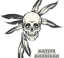 Indian Skull drawn in engraving style by devaleta