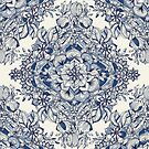 Floral Diamond Doodle in Dark Blue and Cream by micklyn