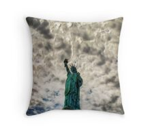 Dark clouds over liberty Throw Pillow