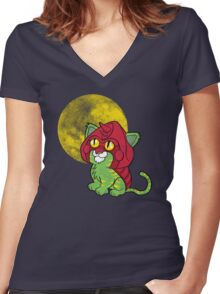 Battlekitty Women's Fitted V-Neck T-Shirt