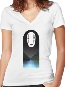 No Face- Spirited Away Women's Fitted V-Neck T-Shirt