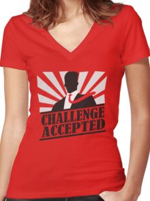Challeng Accepted Women's Fitted V-Neck T-Shirt