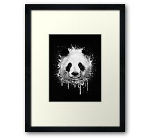 Cool Abstract Graffiti Watercolor Panda Portrait in Black & White  Framed Print