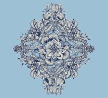 Floral Diamond Doodle in Dark Blue and Cream Kids Clothes