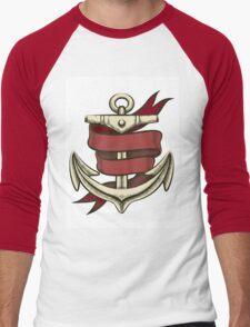 Anchor with Ribbon Men's Baseball ¾ T-Shirt