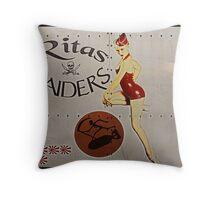 Vintage Pinup Nose Art Ritas raiders Throw Pillow