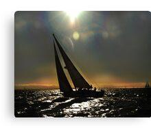 Sun Silhouette Sailing Canvas Print