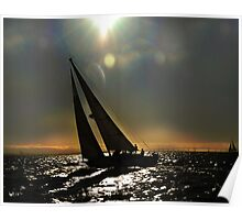 Sun Silhouette Sailing Poster