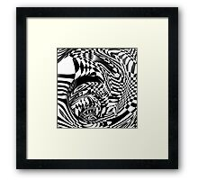 Op Art Black and White Abstract Checkered Pattern Framed Print