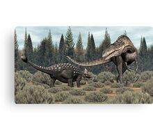 Ankylosaurus vs Acrocanthosaurus Canvas Print