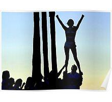 Silhouette of Cheerleader Poster