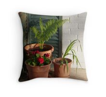 """""""Three Potted Plants"""" Throw Pillow"""