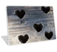 wooden background whit heart Laptop Skin