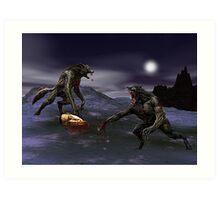 Werewolf Fight Art Print