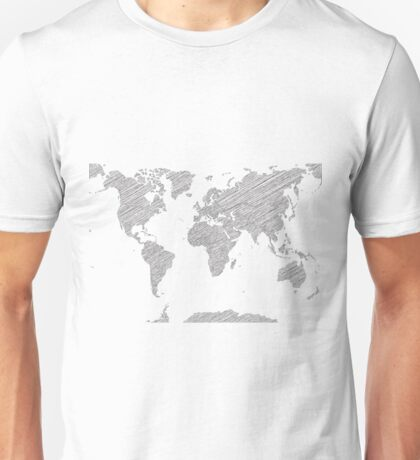 Sketchy Map of the World Unisex T-Shirt