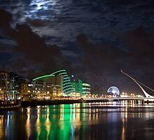 Liffey River by Night, Samuel Beckett Bridge, Dublin, Ireland by espanek